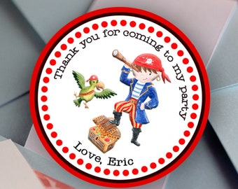 Pirate Party Personalized Round Labels |Red Black Stripes | Bar Candy | Ahoy It's a Boy | Nautical Guest Favor Keepsake | Thank You Gift