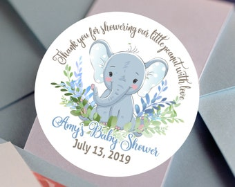 Elephant Baby Shower Favors For Boys | Personalized Stickers | Thank you for showering our little peanut with love | Thank You Stickers