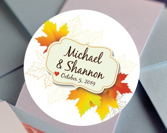 Fall Wedding Favors Thank You Labels - Fall In Love Bridal Shower Favors - Fall Thank you Favors - Maple Leaves - Fall Wedding Stickers