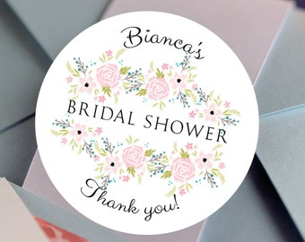 Personalized Pink Flowers Custom Thank You Labels | Bridal Shower Decor | Bridal Shower stickers | Bridal Shower Labels