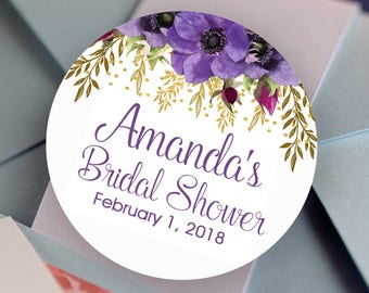 Bridal Shower Stickers, Floral Faux Glitter Amethyst Round Bridal Shower labels - Bridal Shower Stickers - Bridal Shower Candy Stickers