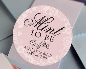 Mint to Be Floral Color Coordinated Favor Stickers for Weddings and Bridal Showers