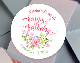 Happy Birthday Floral Round Stickers | Personalized Stickers | Birthday Favors  | Sweet 16 | Pink Garden Flowers