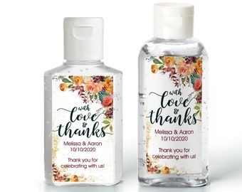 Orange Rose Fall Wedding Favor | Hand Sanitizer Label | Fall Shower Labels | Autumn Rehearsal Dinner | Bridal Shower | Wedding Shower