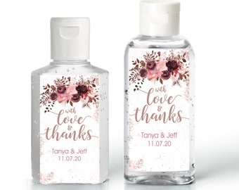 Dusty Rose Baby Shower Favor   Hand Sanitizer Label   Fall Baby Shower Labels   Autumn Baby Shower   Bridal Shower   Wedding Shower