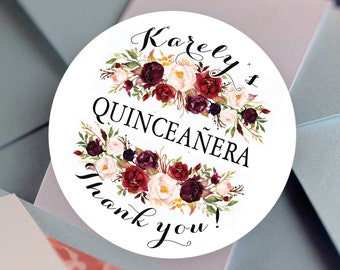 Quinceañera  Stickers, Custom Bridal Shower Labels - Round labels - Quinceañera Labels - Burgundy Rose Candy stickers