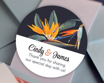 Personalized Tropical Birds of Paradise Custom Favor Stickers for Birthdays, Weddings, Bridal Showers, Baby Showers and More