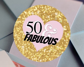 FIFTY & FABULOUS Labels | 50 and Fabulous Birthday Stickers |  Round Candy Stickers |  Glitter and Pink Heart