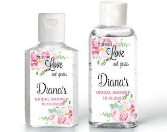 Bridal Shower Hand Sanitizer Labels. Baby Shower Hand Sanitizer Labels,  Floral Hand Sanitizer Labels, Wedding Favors, Pink