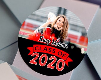 Graduation Photo Stickers, Custom High School Senior Labels - Round Graduation Labels - Graduation Stickers - Graduation Candy Stickers