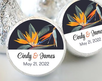 Tropical Birds of Paradise Hershey Kiss® Stickers | Palm Leaves Kiss Seals | Candy Labels for any Event | Set of 108 Stickers