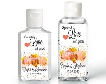 Fall Themed Pumpkin Hand Sanitizer Labels   Rectangular Labels   Baby Shower  Bridal Shower   Wedding Shower