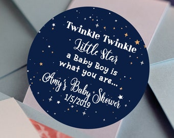 Twinkle Twinkle Little Star Baby Shower Stickers | Personalized Stickers | Baby Shower Favors  | Thank You Stickers