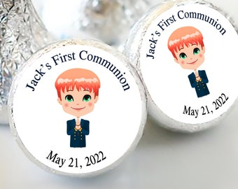 Boys First Holy Communion Candy Kiss Stickers | Communion and Baptism Favors  | Sheet of 108 Stickers | Red Haired Boy