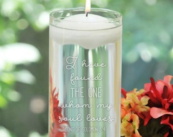 Personalized Floating Unity Candles - I have found the one whom my soul loves - Names and Date