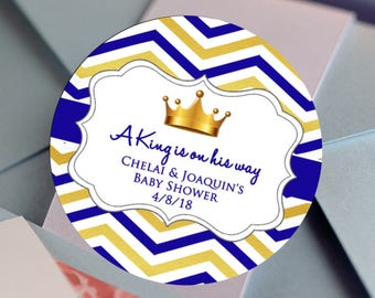 30 Glossy Round Labels - Prince Favor Labels - Baby Shower Stickers - Birthday Favors - Welcome Crown Favors - Prince Favor Labels