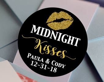 Midnight Kisses - Round Labels - Gold and Black Labels - Wedding Decor - Black Gold and White  - Round Labels - Thank you Labels