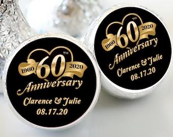 108 Hershey Kiss® Stickers - Hershey Kiss Stickers Bridal Shower - 60th Anniversary Kiss seals  - 60 years Kiss Labels  - Wedding Decor