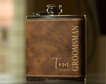 Groomsmen Gift, Personalized Flask Set for Men- Rustic Brown Leather Hip Flask, Best Man Flask, Bridal Role Name Date Groomsman Flask