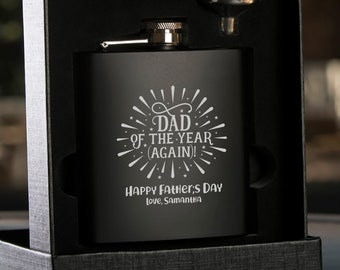 Laser Etched Flask -Personalized Black Hip Flask with Funnel - In Gift Box - Father's Day Flask - Gift for Dad - Black Flask - Whiskey Flask