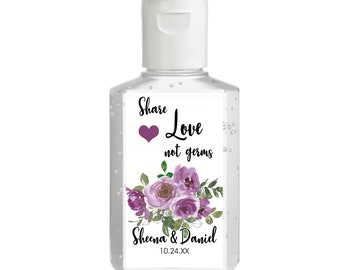Purple Purell hand sanitizer labels 2 oz. size - Bridal Shower Labels - Hand Sanitizer Labels - Bridal Shower Décor - Share Love Not Germs
