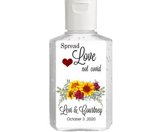 Hand Sanitizer labels  - Bridal Shower Labels - Wedding - Baby Shower  - Sunflowers - Wedding Favors  - Spread Love not covid germs