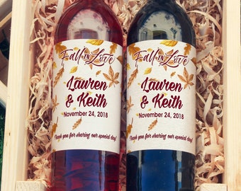 Falling Leaves Wedding Wine Labels - Wedding Wine Favors - Fall Wedding Wine Bottle Labels - Thank you Wine Labels  - Color Coordinated