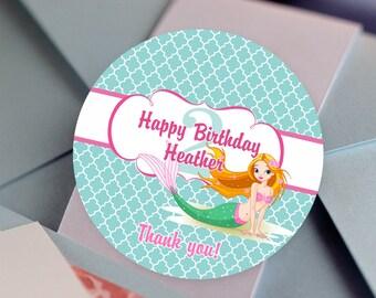 Cute Mermaid Birthday Stickers, Custom Birthday Labels - Round Birthday labels - Candy Stickers - Mermaid Themed Favors