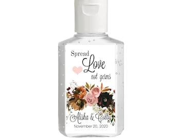 Purell hand sanitizer labels 2 oz. size bottle - Bridal Shower Labels - Hand Sanitizer Labels - Bridal Shower Decor - Spread Love Not Germs