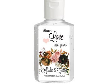 Purell hand sanitizer labels 2 oz. size - Bridal Shower Labels - Hand Sanitizer Labels - Bridal Shower Decor - Share Love Not Germs