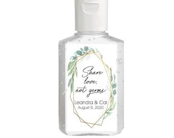 Vintage Greenery Foliage with Gold frame Hand Sanitizer Labels | Rectangular Labels | Baby Shower| Bridal Shower | Wedding Shower