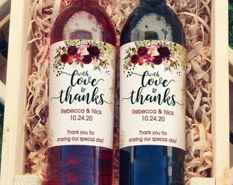 Thank You Wine Labels - With Love and Thanks Burgundy Rose Wine Labels  - Wedding Wine Bottle Labels - Thank you - Wine Gifts