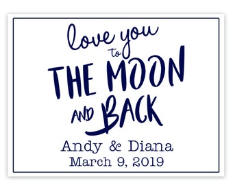 """4"""" x 3""""  Personalized Welcome Box Labels -  Wedding Welcome Bag Labels - Welcome Stickers - Box Stickers -  Love you to the Moon and Back"""