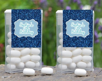 Personalized Birthday Faux Blue Glitter Tic Tac Labels