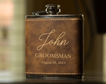 Personalized Groomsman Flasks, Leather Wrapped, Rustic Gold, Best Man Flask, Bridal Party Flask, Gift Flask Set, Personalized Leather Box