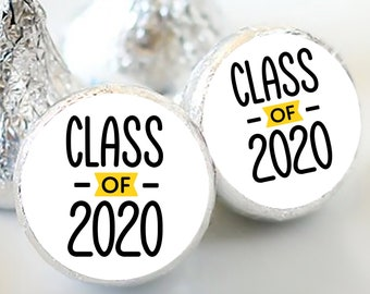 108 Class of 2020 Hershey Kiss® Stickers - Hershey Kiss Stickers - Personalized Hershey Kiss Labels - Class of 2020 - Hershey Kiss Seals