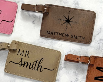 Custom Engraved Luggage Tag, Leather Luggage Tag, Personalized Name Tag, Monogram Suitcase Tag, Carry On Tag, Backpack Tag, ID Bag Tag
