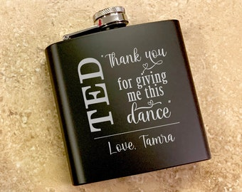 Personalized Thank You For Giving Me This Dance Engraved Black Flask