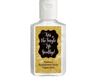 Personalized Hand Sanitizer Labels - Gold Faux Glitter Bachelorette Party labels - Kiss the Single Life Goodbye - Various Sizes Available
