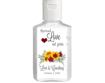 Hand Sanitizer labels  - Bridal Shower Labels - Wedding - Baby Shower  - Sunflowers - Spread Love Not Germs - Assorted Sizes Available