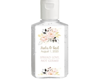 Purell Hand Sanitizer Labels Blush and Gold  - Bridal Shower Labels - Rehearsal - Drive By - Wedding Favor  - Spread Love Not Germs