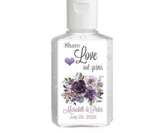 Purell hand sanitizer labels 2 oz. size - Bridal Shower Labels - Purple/Lavender  - Bridal Shower Decor - Share Love, Not Germs