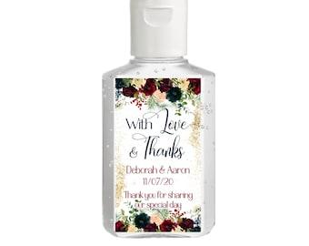 Burgundy Blush Navy & Ivory Hand Sanitizer Labels | Rectangular Labels | Baby Shower| Bridal Shower | Wedding Shower | With Love and Thanks