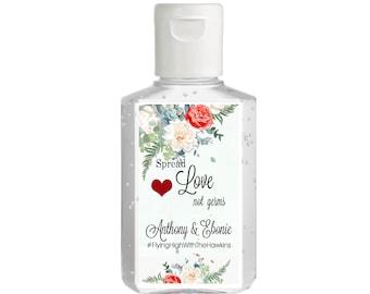 Purell hand sanitizer labels 2 oz. size bottle - White Mint and Red Rose Shower Favors - Bridal Shower - Wedding - Rehearsal Dinner