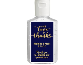 Hand sanitizer Labels - Bridal Shower - Wedding - Rehearsal - Hand Sanitizer Labels - With Love and Thanks