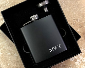 Laser Etched Flasks -Personalized Black Hip Flask with Funnel In Gift Box, Best Man Gift Wedding Party Gift, Groomsman Gift - Black Flask