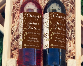 Fall Wedding Favors Wedding Wine Labels - Fall Vines Wine Labels  - Autumn Wedding Wine Bottle Labels - Custom Labels - Color Coordinated