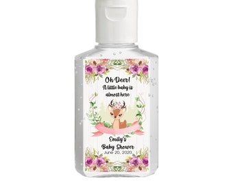 Purell hand sanitizer labels 2 oz. size bottle - Baby Shower Labels - Oh Deer Woodland Baby Shower - Baby Shower Decor - Sanitizer Labels