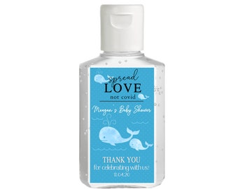 Purell hand sanitizer labels 2 oz. size bottle - Whale Baby Shower Favors - Baby Whales Hand Sanitizer Labels - Baby Shower Whale Decor