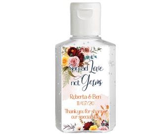 Burgundy Blush & Yellow Hand Sanitizer Labels | Rectangular Labels | Baby Shower| Bridal Shower | Wedding Shower | Wedding sanitizer labels
